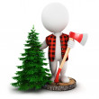 3d white lumberjack — Stock Photo