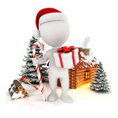 3d white christmas scene — Stock Photo