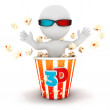 3d white comes out of popcorn — Stock Photo