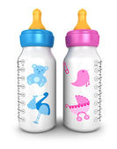 3d feeding bottles — Stock Photo