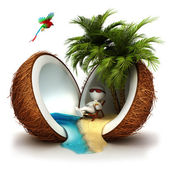 3d white in a coconut paradise — Foto Stock