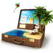 3d white in a suitcase paradise — Stock Photo