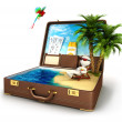 3d white in a suitcase paradise — Stock Photo #20843901
