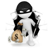 3d white thief with money — Stock Photo