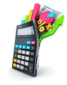 3d open calculator — Stock Photo