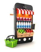 3d supermarket smartphone — Stock Photo