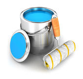 3d paint can and a roller brush — Stock Photo