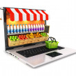 Stock Photo: 3d supermarket laptop