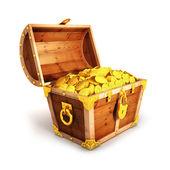 3d golden treasure chest — Stock Photo