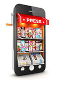 3d newsstand smartphone — Stock Photo