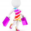 3d white people fashion woman with shopping bags — Zdjęcie stockowe #48185999