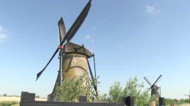 Dutch windmill near Kinderdijk, The Netherlands — Stock Video