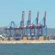 Port of Malaga with containers and cranes — Stock Video
