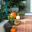 Pumpkins on the porch — Stock Photo
