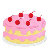 Rice paper cut pink strawberry cake — Stock Photo