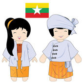 Myanmar costume — Vector de stock