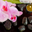 Spa scene with pink orchids, bamboo and candles — Stock Photo