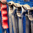 Row of wrenches in auto repair shop — Stock Photo