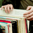 Retro revival: vinyl records - Stock Photo
