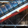 Detail of the Pompidou Centre, Paris, at twilight - Stock Photo