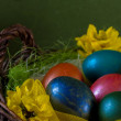 Easter eggs on blue — Stock Photo