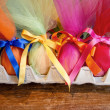 Easter eggs with ribbon — Stock Photo
