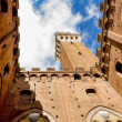 Torre del Mangia from the yard — Stock Photo