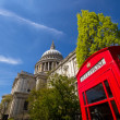 St Paul's cathedral and phone box — Stock Photo
