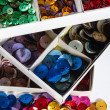 Boxes of colourful buttons — Stock Photo