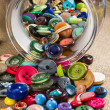 Jar of vintage buttons — 图库照片