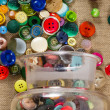 Jar of vintage buttons — Stock Photo