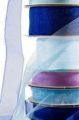 Stack of blue gauze ribbon — Stock Photo