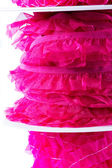 Stack of pink and red ribbon — Stock Photo