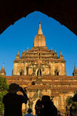 Facade of an ancient Buddhist temple in Bagan, Myanmar — Stock Photo