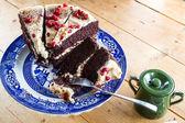 Chocolate cake with pomegranate — Stock Photo
