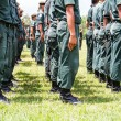 Military force uniform soldier boot row — Stock Photo