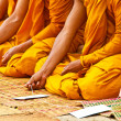 Monks and religious rituals in thai temple — Stock Photo