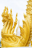 Thai dragon, golden Naga statue in temple — Stock Photo