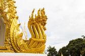 Thai dragon, golden Naga statue in temple — Stock Photo
