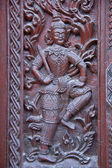 Window woodcarving in temple, Thailand — Stock Photo