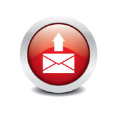 Mail icon red glossy with white background — Stock Vector