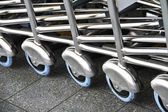 Shopping carts in a row — Stock Photo