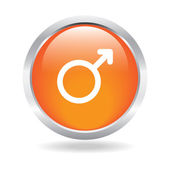 Orange glossy gender button with white background — Stock Vector