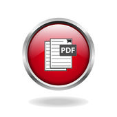 Pdf red glossy web icon — Stock Vector