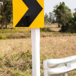 Stock Photo: Road Signs warn Drivers for Ahead Dangerous Curve