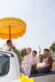 Thai new monk parade in the Newly Buddhist ordination ceremony — Stock Photo