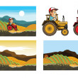 Farmer Driving Tractor — Stock Vector