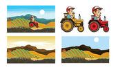 Farmer Driving Tractor — Stock Vector