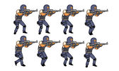 SWAT Walk Animation Sequence — Stock Vector