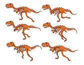 T Rex Bone Running Sequence — Stock Vector